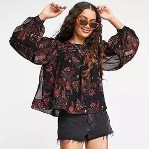 Topshop paisley print pintuck blouse size 8